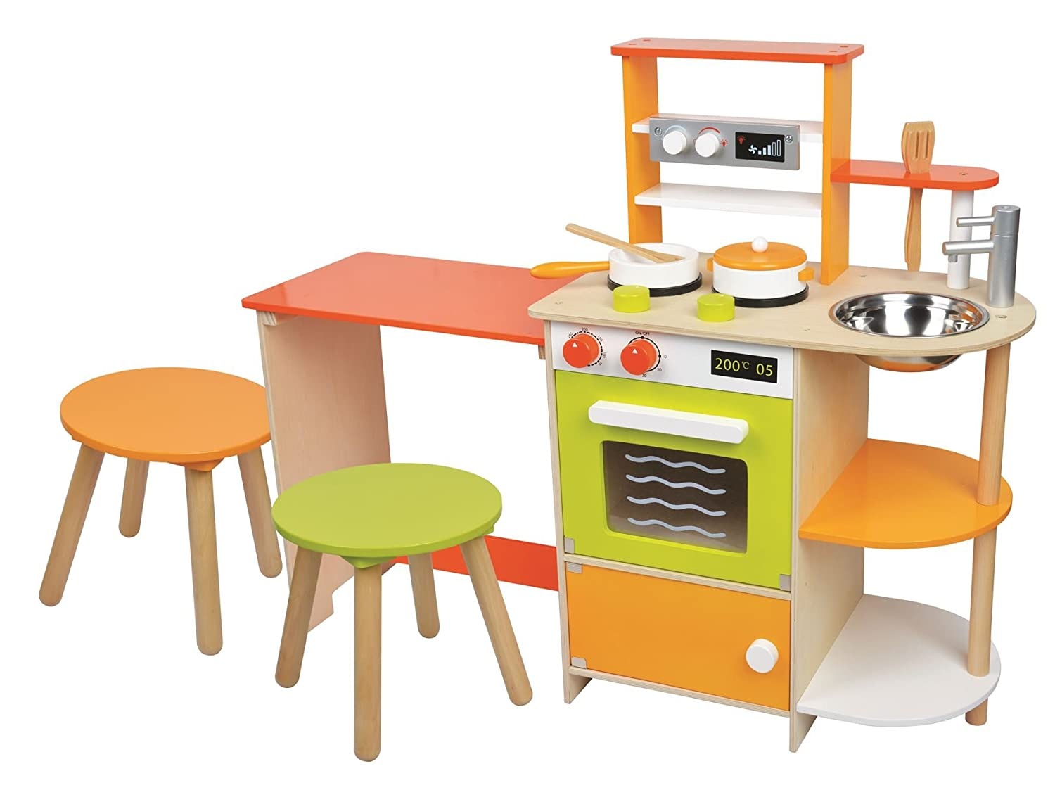 Lelin Wooden Childrens 2 In 1 Pretend Play Kitchen And Dining Room Set:  Amazon: Toys & Games