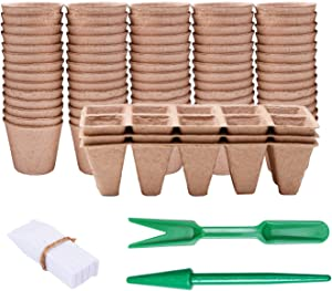 URATOT Peat Pots Kit 50 Pieces Round 6cm Peat Pot 3 Pack Square Peat Pot with Plant Markers and Garden Tools for Home Plant Starters