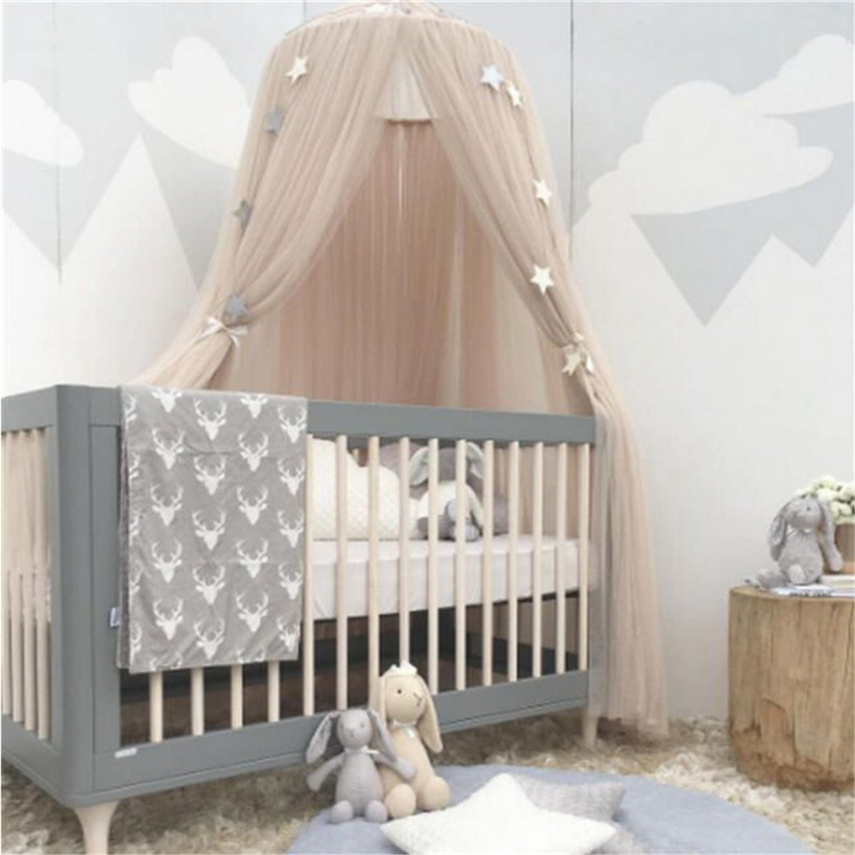Dome Bed Canopy, Cotton Mosquito Net Canopy Princess Play Tent Bedding Gaming House for Girls Baby Indoor Outdoor Playing Reading Height 240cm (Grey) Yosoo