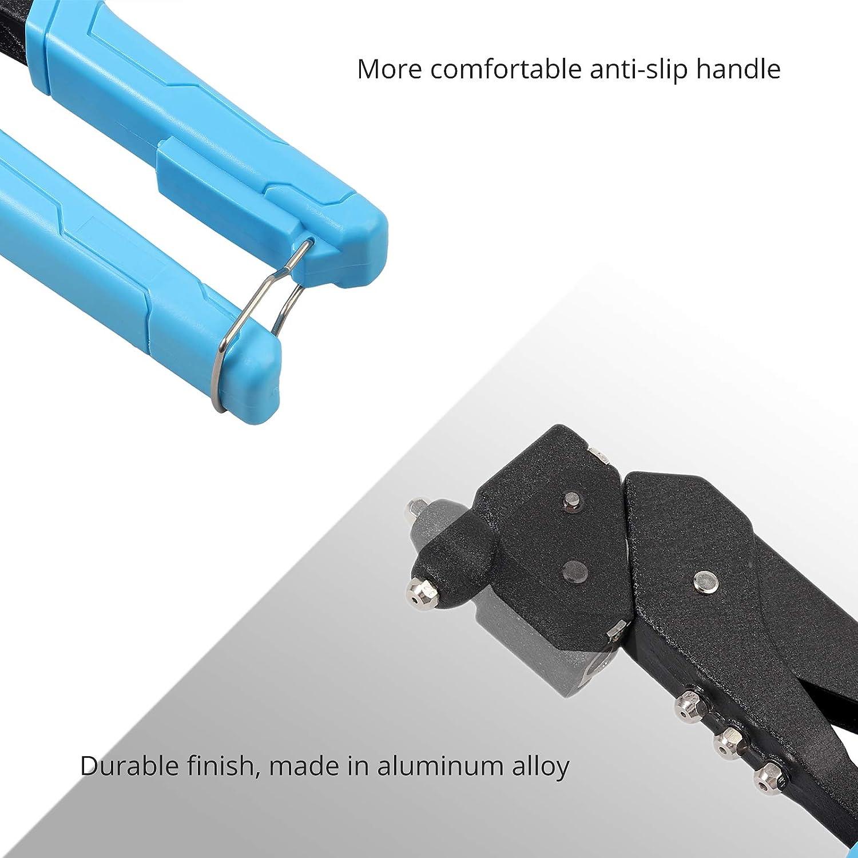 Pistola de Remachado Remachadora Manual Cabezal Giratorio 360 /°con 200 Remaches de 4 Tama/ños 2.4mm//3.2mm//4.0mm//4.8mm Remachadora de Mano Profesional de Aluminio para Auto Remolque Reparaci/ón