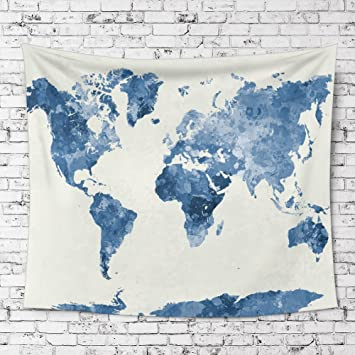 Ileadon watercolor world map tapestry wall hanging light weight ileadon watercolor world map tapestry wall hanging light weight polyester fabric wall decor for gumiabroncs Choice Image