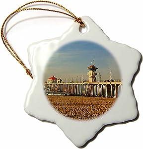 3dRose LLC Huntington Beach Pier 3-Inch Snowflake Porcelain Ornament