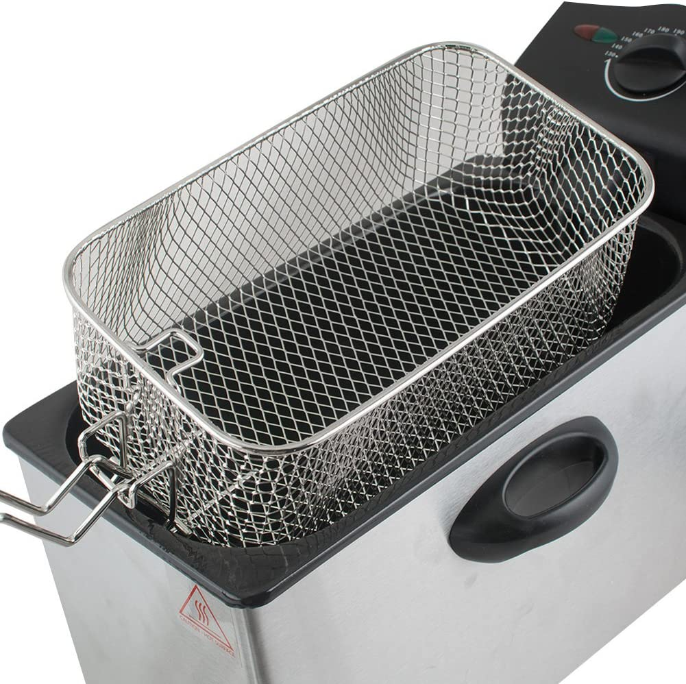 Household and more 3-5 Days Delivery Cafe Shops 4L Capacity Stainless-Steel Single-Tank Commercial Tabletop Immersion Fryer with Frying Basket for Restaurants Electric Deep Fryer Dessert shops