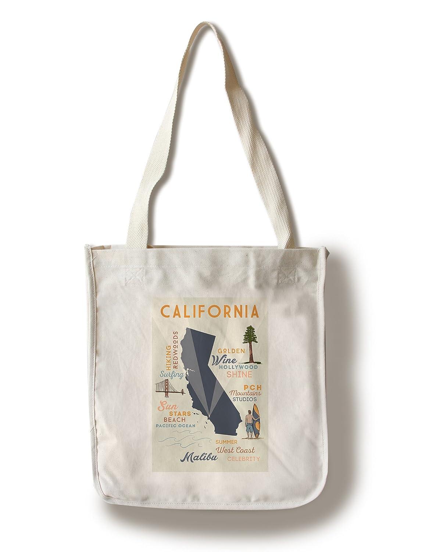 マリブ、カリフォルニア – Typographyとアイコン Canvas Tote Bag LANT-68548-TT B01B5NUN4S  Canvas Tote Bag
