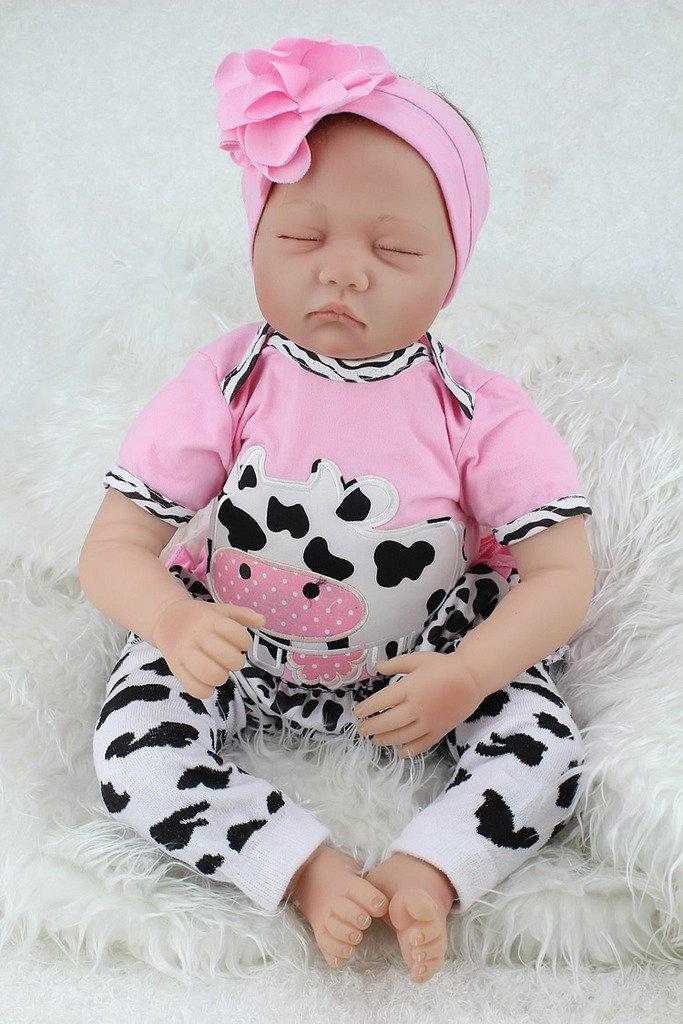 Nicery 22inch Renacido de la muñeca de silicona suave vinilo 55cm magnética Boca realista Niño Niña de juguete blanco rosado de la vaca lechera Reborn Doll A3ES