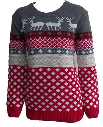9f9b9565974ad Comfiestyle New Women s Xmas Novelty Aztec Reindeer Print Ladies Knitted Long  Sleeve Jumper. UK 8