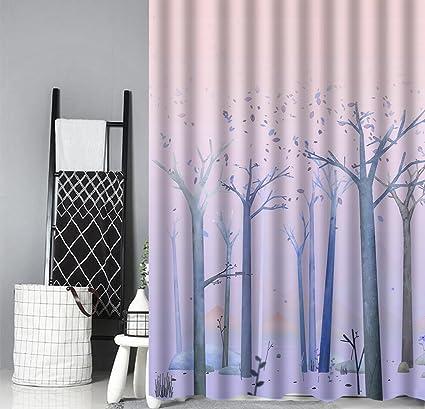 Amazon 66x72 Cartoon Tree Leaf Mountain Robot Shower Curtain