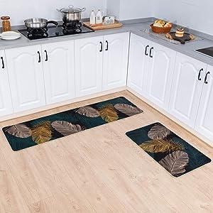 "Carvapet 2 Pieces Non-Slip Rubber Back Kitchen Runner Set Floor Mats Bathroom Rug Doormat Runner, 18""x59""+18""x30"", Feather"