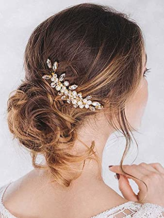 Amazon Com Unicra Bride Wedding Hair Combs Pearl Hair Piece Crystal Headpiece Bridal Hair Accessories For Women And Girls Gold Beauty