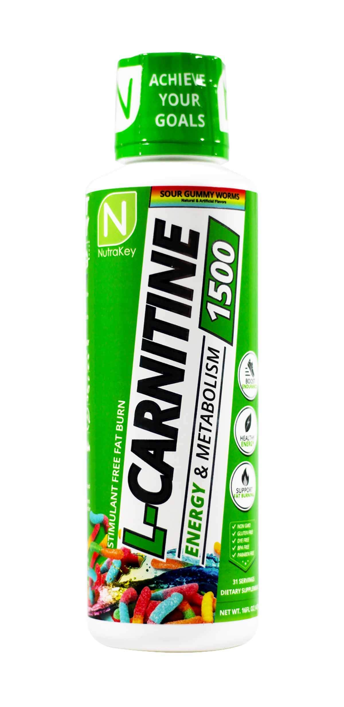 NutraKey L-Carnitine 1500 Liquid Fat Burner, (Sour Gummy Worms) 31 Servings by NutraKey