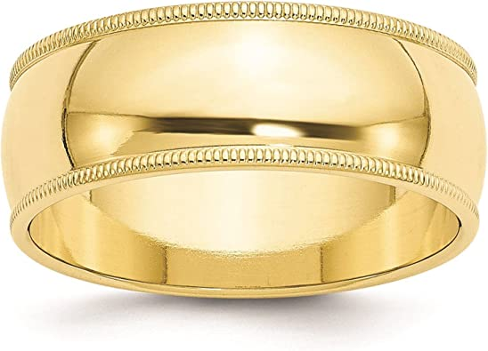 Full /& Half Sizes 10k Yellow Gold 4mm Milgrain Comfort Fit Wedding Ring Band Size 4-14