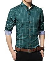 (アザブロ)AZBRO メンズ お洒落 チェック柄 ボタンダウン 長袖 折り襟 着回し カジュアル ビジネス スリムフィット シャツ