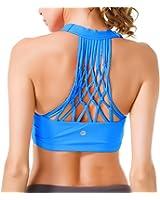 QK Womens Yoga Sport Bra Medium Support Hand-Knited Nest Back Super Soft Touch