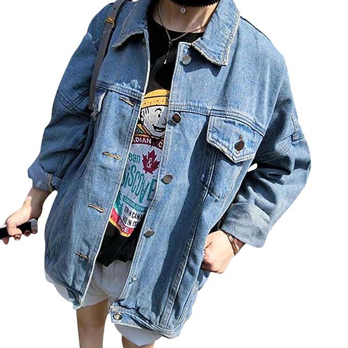Qitun Donna Giacca di Jeans Manica Lunga Lavato Denim Cappotto Fidanzato Jeans Jacket Giubbotto