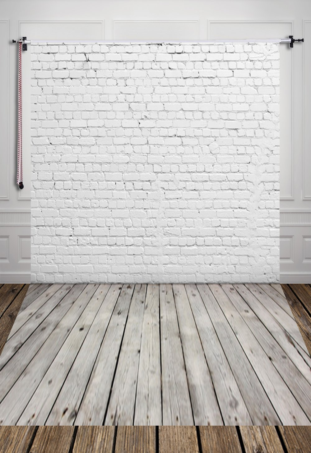 HUAYI 5X7ft White Brick Wall With Gray Wooden Floor Photography Vinyl Backdrop D-2504 by HUAYI