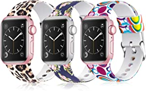 Moretek Colorful band Compatible for Apple Watch 38mm 42mm 40mm 44mm,Soft Silicone Sport Replacement Strap for iWatch Series 5 4 3 2 1, Nike+, Edition Women Men (Pack 1, 42/44mm)