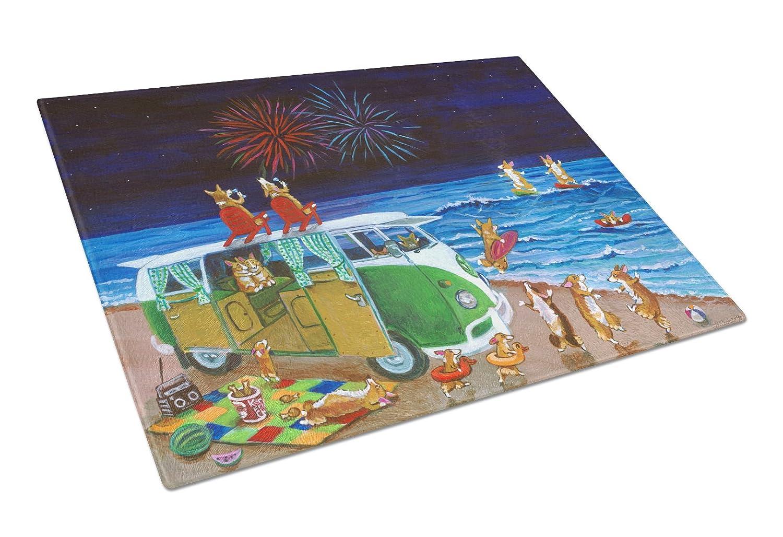 Multicolor Carolines Treasures Go Team Corgi Glass Cutting Board Large