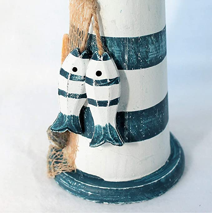 34cm groß mit 2 Holzfischchen Leuchtturm blau//weiß gestreift ca