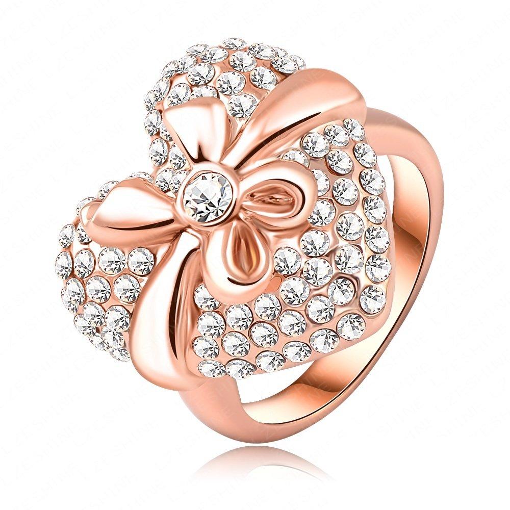 Evertrust (TM)Romantic Love Gift Heart Shape Crystal Rings 18K Rose Gold Plate Women Finger Ring 1918mm Ri-HQ0007-b