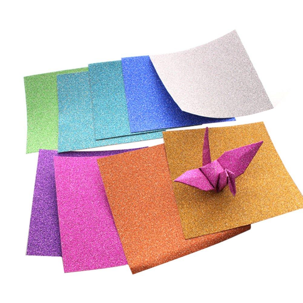 192x Milopon Origami Papier Faltpapier Craft Paper Glitzer Pearlescent Papier Bastelpapier Origamipapier Zweiseitig Faltpapier für Kinder 5x5cm Farben mischen