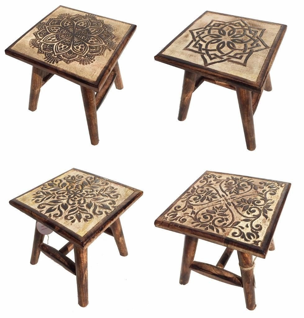 25cm Assembled Brown Hand Carved Mango Wood Square Wooden Stool Coffee Table Choose From 4 Designs[Heart] Topfurnishing Ltd 1475243679-003