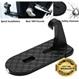 Horoly Car Doorstep Easy Access to Car Rooftop Roof-rack Folding Ladder Hooked Foot on Pegs Stand Door Step support with Safety Hammer for Jeep, Car, SUV