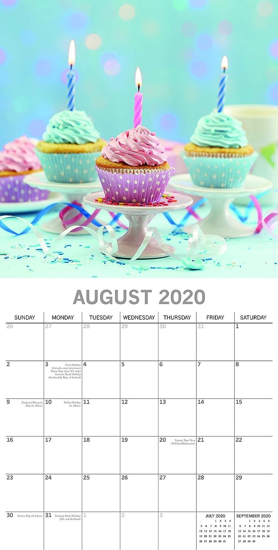 include 180 adesivi promemoria visualizzazione mensile 16 mesi tema cibo e dessert Calendario da parete 2020 motivo: cupcake 30,5 x 30,5 cm