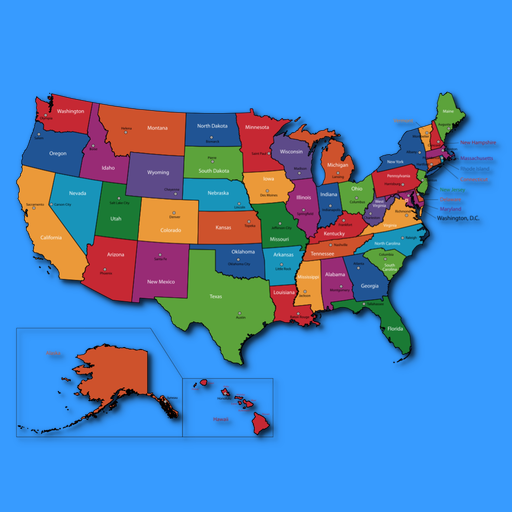 Amazoncom American States And Capitals Appstore For Android - Map of united states of america with capitals