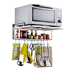 Ninetonine Alumimum Microwave Oven Wall Mount Double Deck Shelf With Hooks