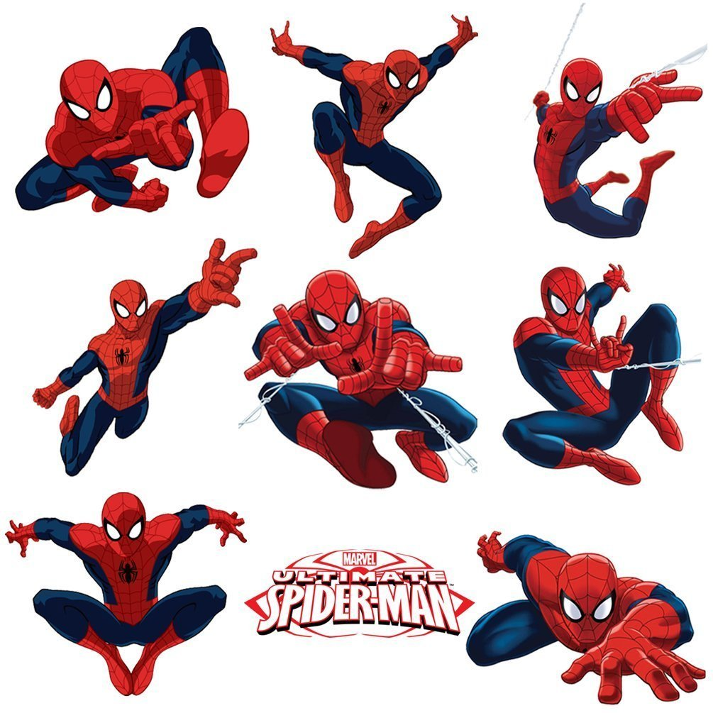 Spiderman Sticker Pack for Kids Room Wall Decor | Peel and Stick Wall Decal for Ultimate Spider-man Party Decoration by Dekosh