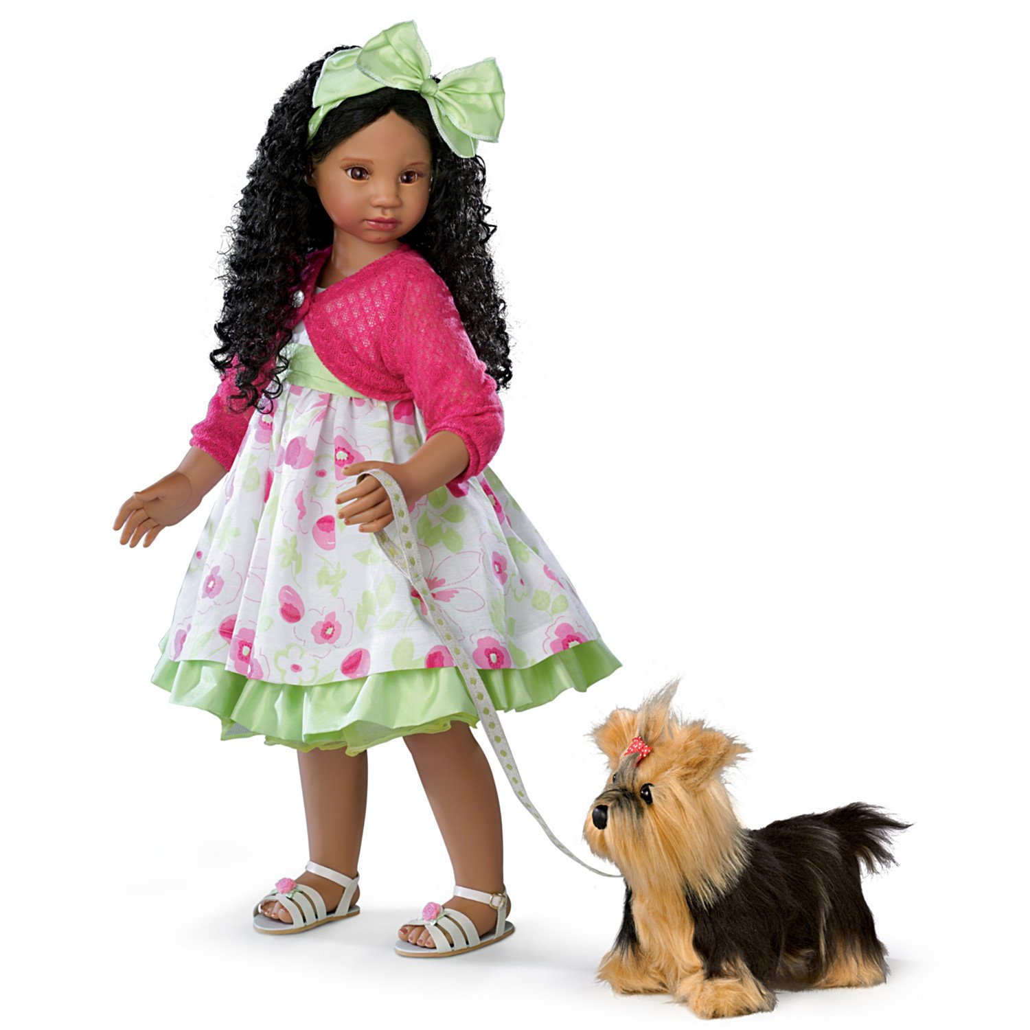 Angela Sutter Kayla's Sunday Stroll Poseable Child Doll And Yorkie by The Ashton-Drake Galleries
