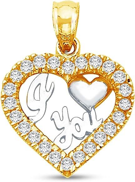 "14K 2 Two Tone Gold /"" I Love You/"" Heart Charm Pendant"