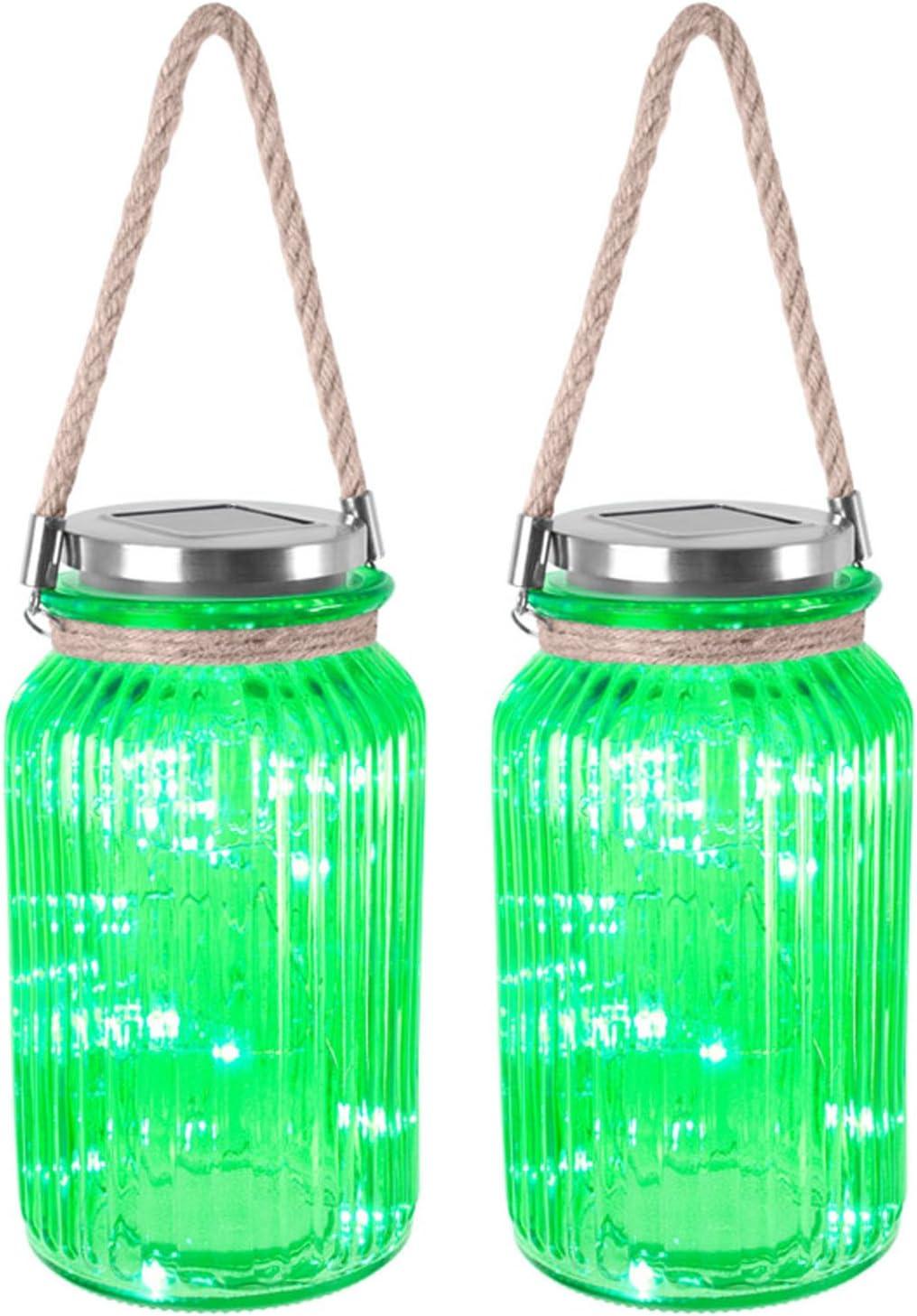Juego de 2 farolillos solares de cristal con mango de cuerda 20 luces LED