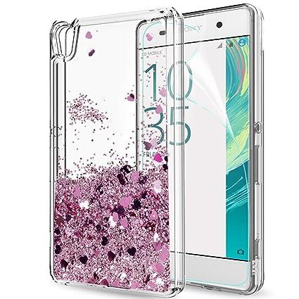 LeYi Hülle Sony Xperia XA Glitzer Handyhülle mit HD Folie Schutzfolie,Cover TPU Bumper Silikon Flüssigkeit Treibsand Clear Sc