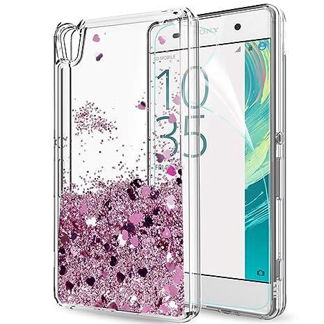 LeYi Funda Sony Xperia XA Silicona Purpurina Carcasa con HD Protectores de Pantalla,Transparente Cristal