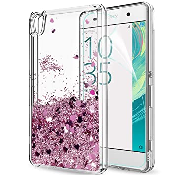 LeYi Funda Sony Xperia XA Silicona Purpurina Carcasa con HD Protectores de Pantalla,Transparente Cristal Bumper Telefono Gel TPU Fundas Case Cover ...