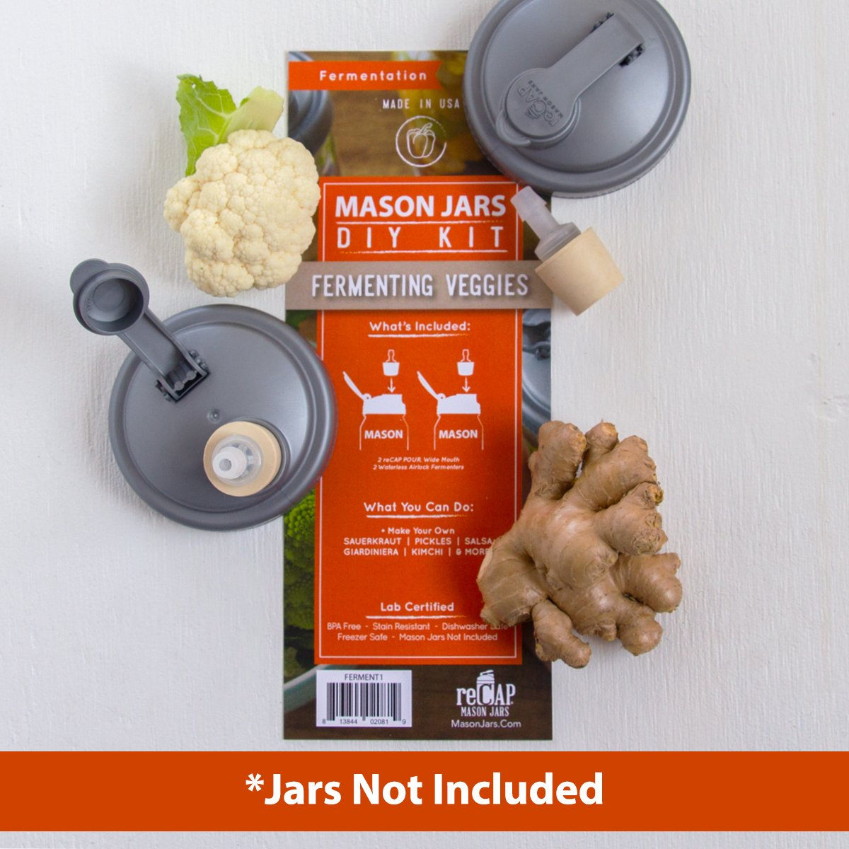 reCAP Mason Jars DIY Kit for Fermenting, Wide Mouth - BPA-Free, American Made Ball Mason Jar Fermenting Lids, Includes 2 POUR lids and 2 Fermenters, Spill Proof and Made with Safe, No-Break Materials