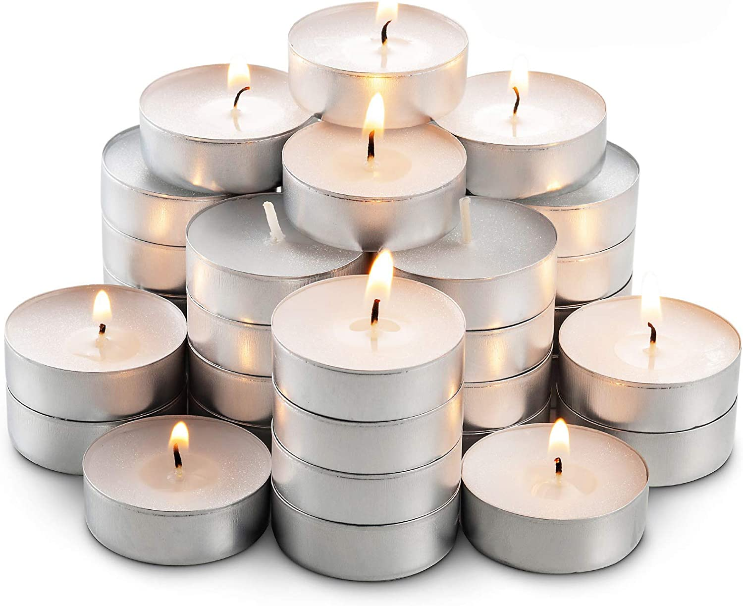 MontoPack Unscented Tea Lights Candles in Bulk | 45 White, Smokeless, Dripless & Long Lasting Paraffin Tea Candles | Small Votive Mini Tealight Candles for Home, Pool, Shabbat, Weddings & Emergencies