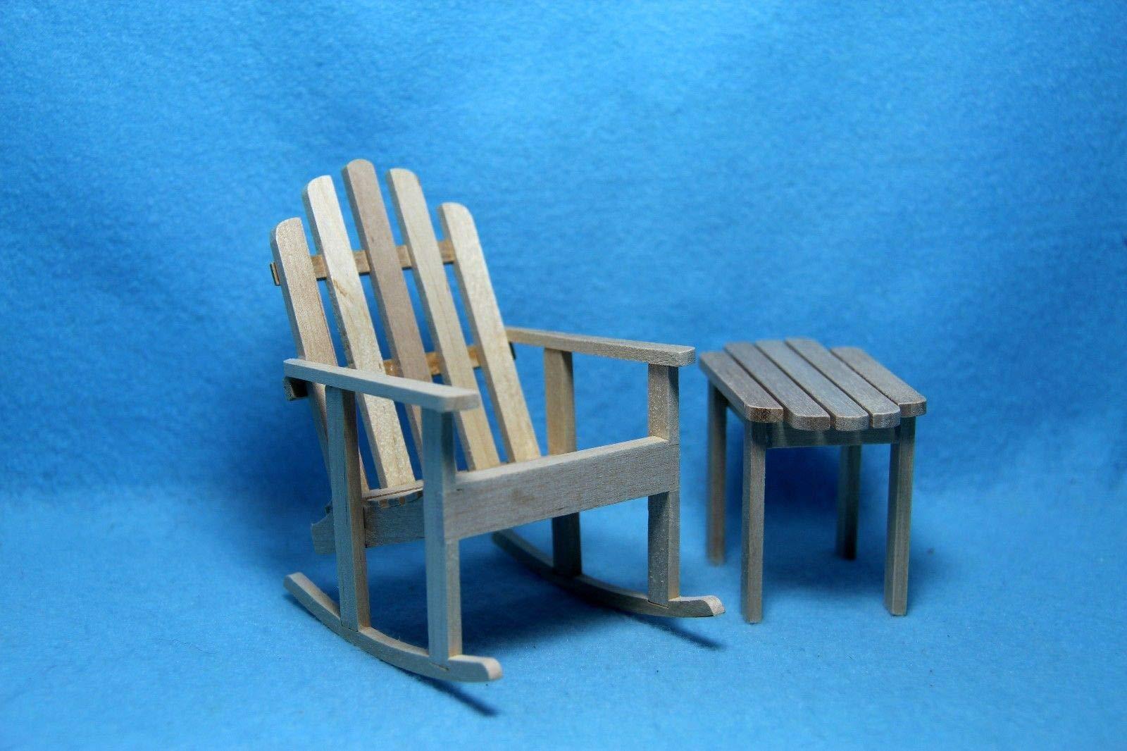 Dollhouse & Miniature Garden Rocker Chair with Side Table ~ T4614-2