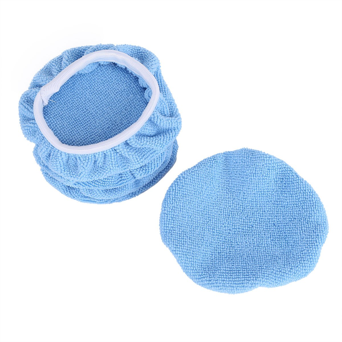 Freebily 5 Pieces Soft Microfiber Auto Car Polisher Pad Waxing Polishing Bonnet Buffing Cover 5-6/7-8/9-10 Inches Blue 7-8 Inches by Freebily (Image #3)
