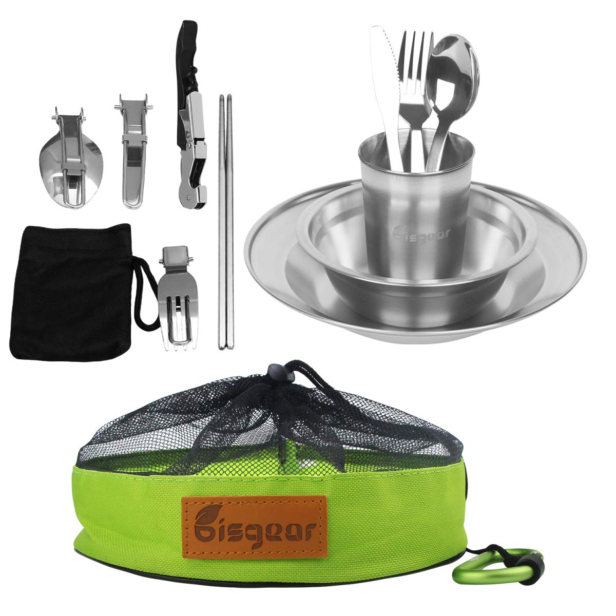 Bisgear 13-34pcs Stainless Steel Tableware Mess Kit Includes Plate Bowl Cup Spoon Fork Knife Chopsticks Carabiner Wine Opener Dishcloth & Mesh Travel Bag for Backpacking & Camping