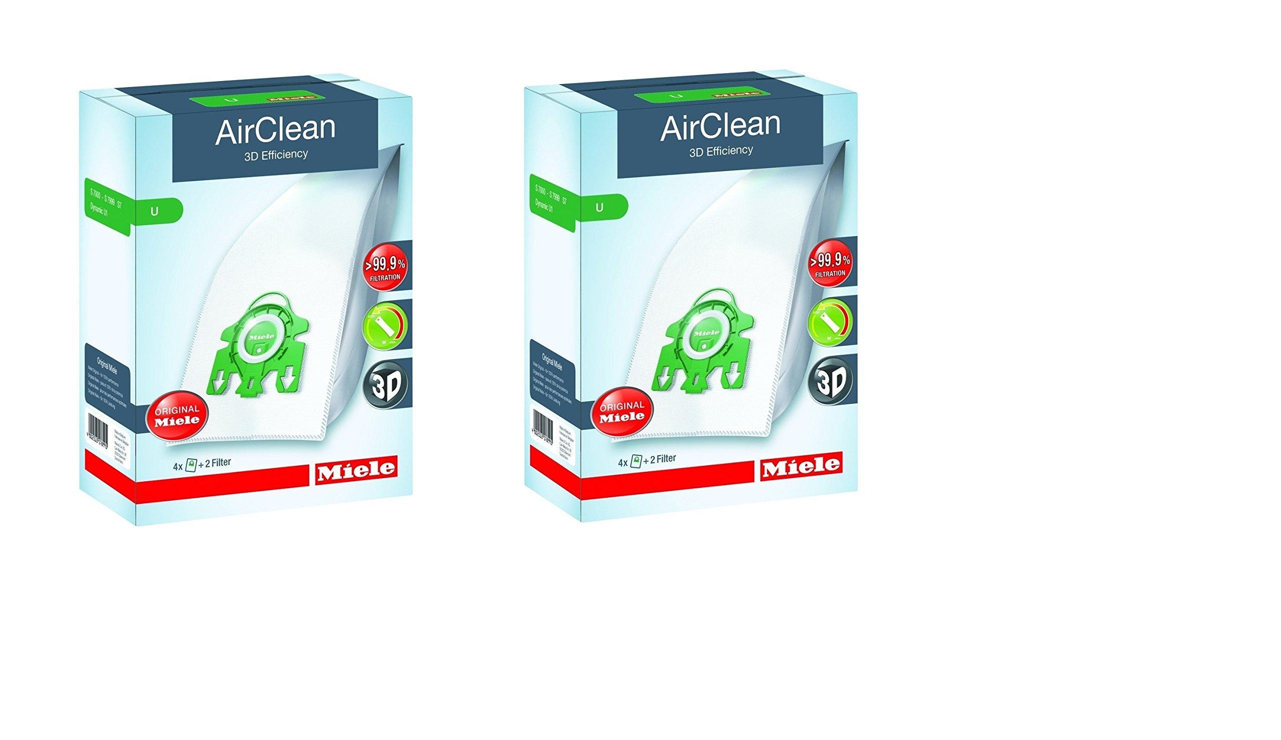 Miele AirClean 3D Efficiency Dust Bag, Type U, 8 Bags & 4 filters by Miele