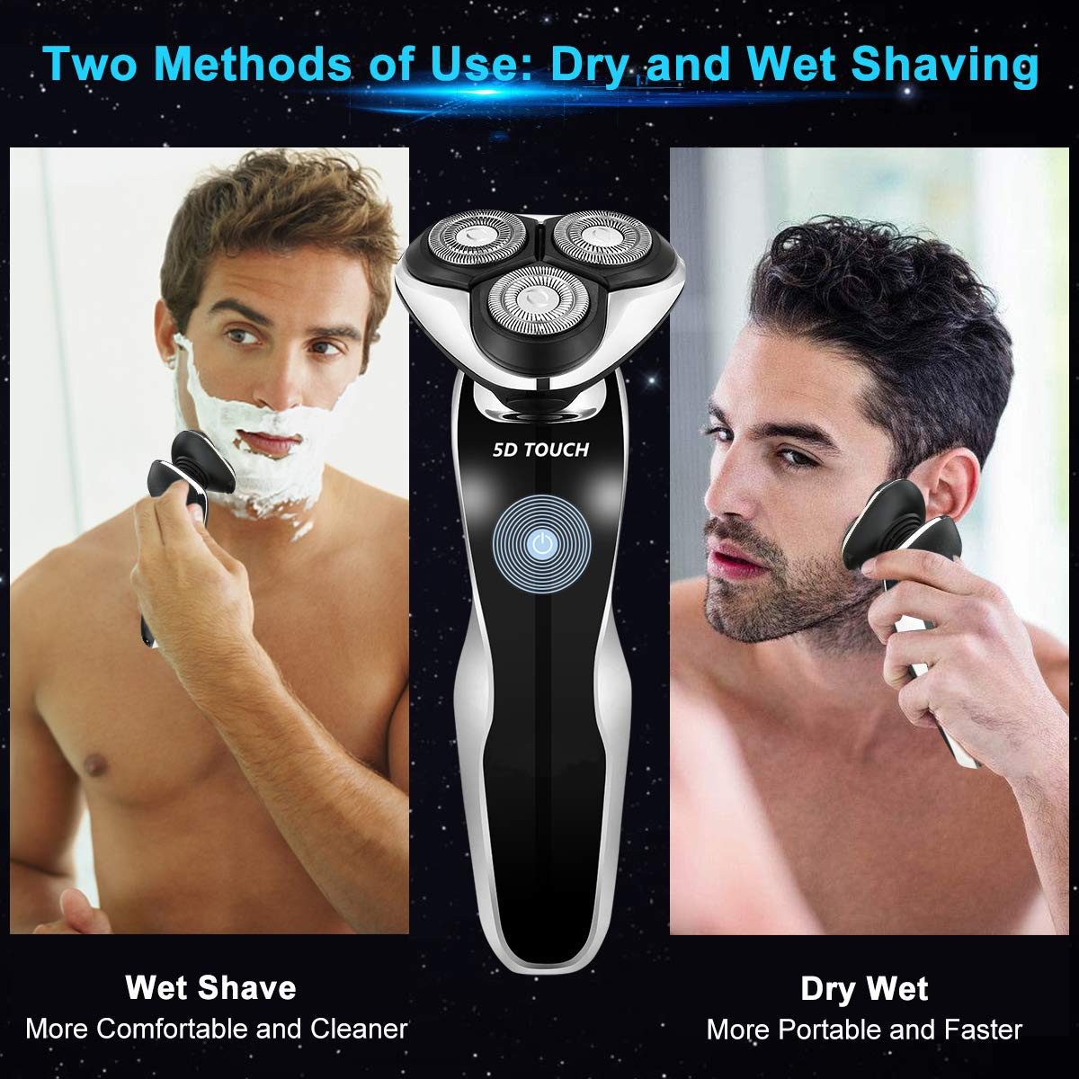 4 In 1 Men's Electric Shaver Set, Dry & Wet Waterproof Mens Rotary Razor Beard Trimmer