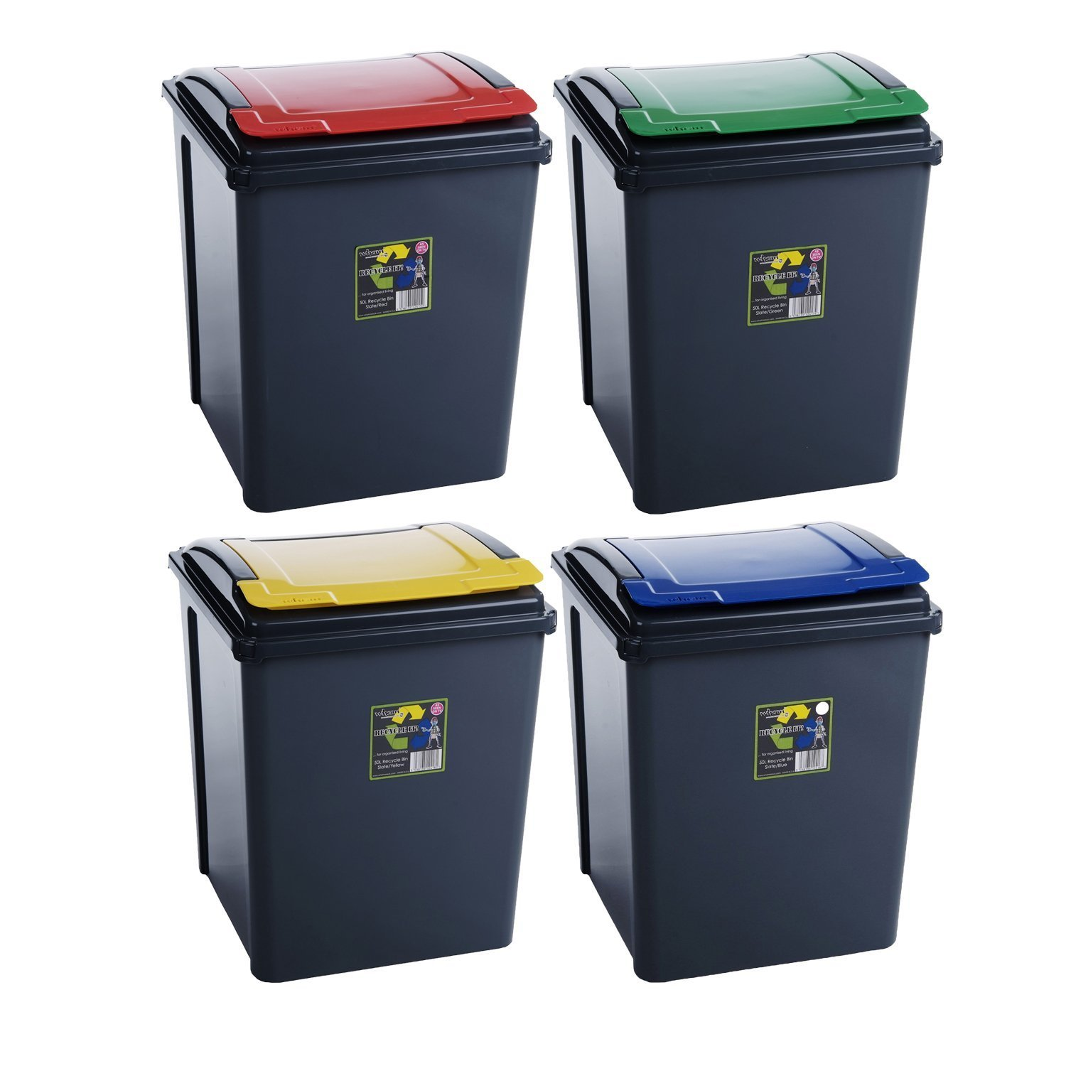 funky gadgets 50L Pack Of 4 Recycle Bin (Red/Green/Blue/Yellow) Waste Rubbish Refuse Trash Storage Recycling Bins Kitchen Home Office Dustbin Pet Food Container