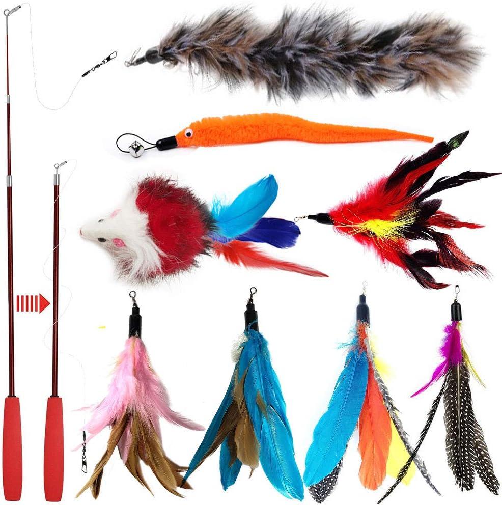 Juguete de varita con plumas retráctil, para gatos, interactivo, con 8 repuestos de plumas, pájaros y ratones, de OneBarleycorn