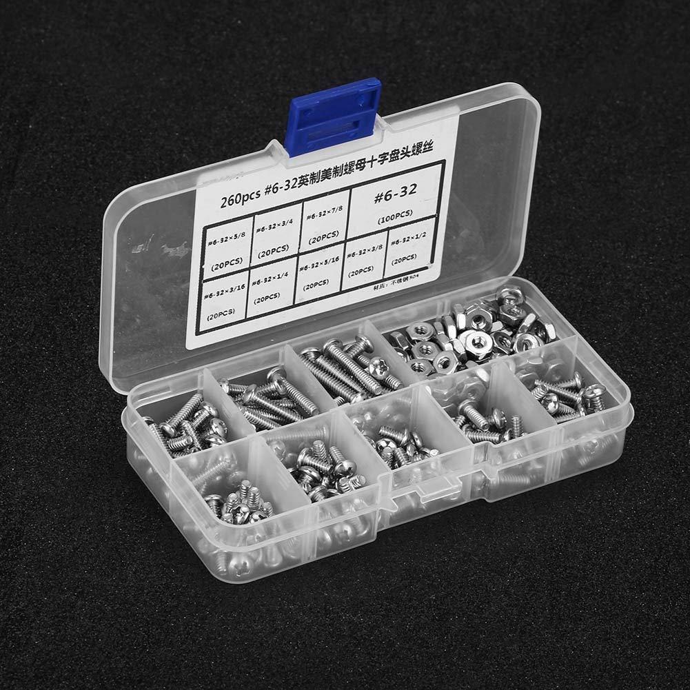 BiuZi Pan Head Screw 260Pcs//Set #6-32 Bolts Nuts Fastener Stainless Steel Cross Screws Hex Nuts Assortment Kit