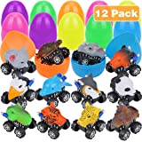 "Aitey 3.9"" Jumbo Filled Easter Eggs with Prefilled 12 Pack Pull Back Animal Vehicles, Easter Surprise Eggs Car Toys for Kids Easter Theme Party Favor, Easter Eggs Hunt, Basket Stuffers Fillers"