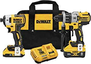 DEWALT 20V MAX XR Cordless Drill Combo Kit, Hammer Drill & Impact Driver, Power Detect Technology (DCK299D1W1)