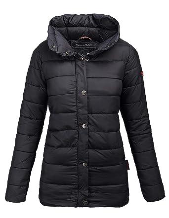 Marikoo Damen Steppjacke leichte Übergangs Jacke gesteppt lang schwarz  B407  Amazon.de  Bekleidung 88baf45483