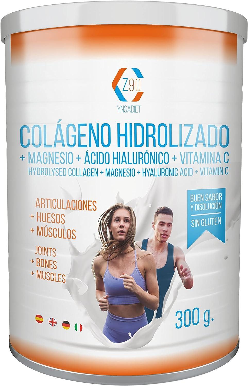 Colágeno Con Magnesio – Vitamina C – Ácido Hialurónico - Colágeno hidrolizado en polvo con magnesio Para la Salud de Tus huesos y articulaciones – 300 ...